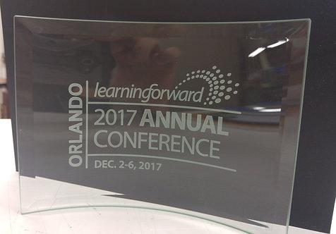 Curved Glass Crescent Award - Sand carved