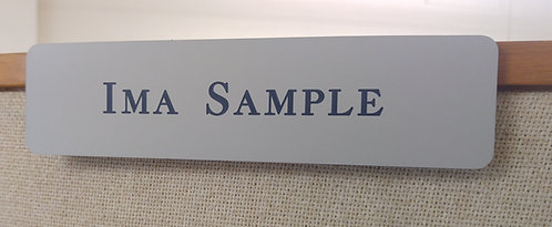"2"" x 8"" laser engraved name plate with clear partition holder - 58 color options"