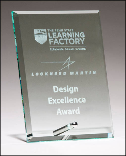 Clear glass award - beveled edge with silver plated easel post