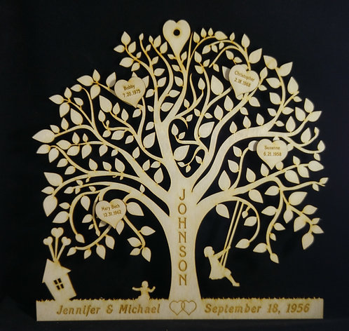 Personalized Family Tree - Custom Cut Birch - Laser engraved - Wall Hanging