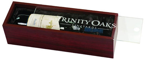 Wine Presentation Box - Display Box - Rosewood finish - Laser Engraved Lid