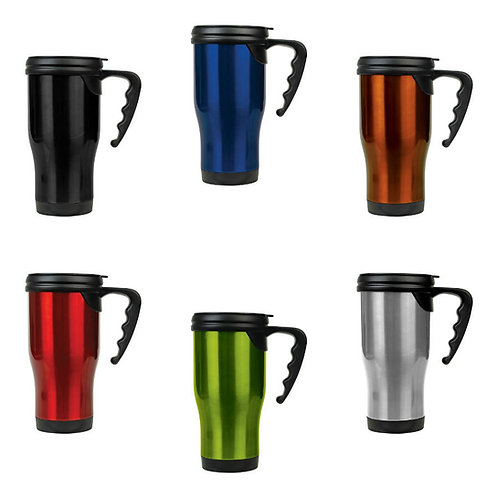 14 oz. Stainless Steel Travel Mug with Handle - Laser engraved - Logo or copy