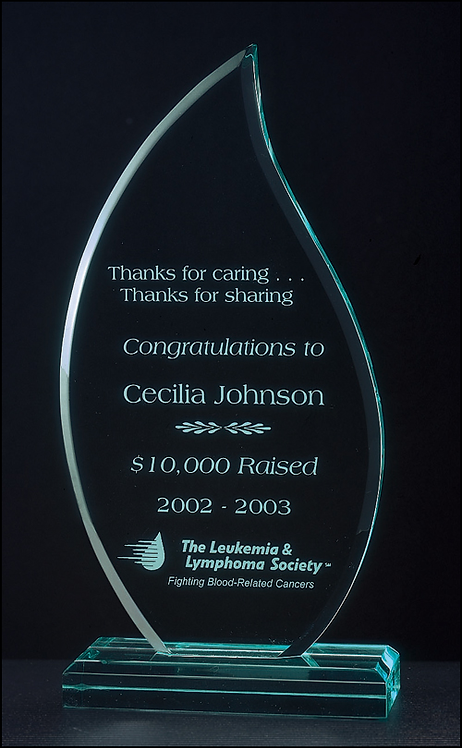 "Flame Series Acrylic Recognition Award - 3/4"" thick - Jade Tint - Laser Engraved"