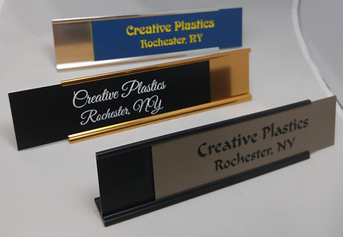 "2"" x 8"" laser engraved name plate with desk holder - 58 color options"