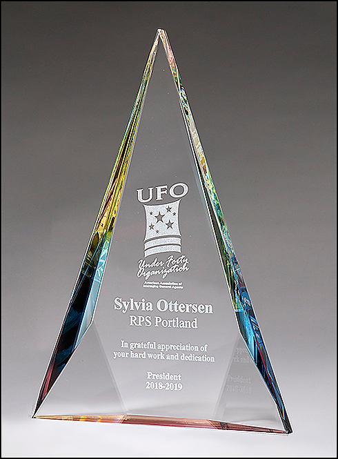 Diamond Series Crystal Award with Prism-Effect Base - Laser Engraved
