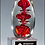 Thumbnail: Egg-Shaped Red Art Glass Award on Clear Glass Base - Blown Glass