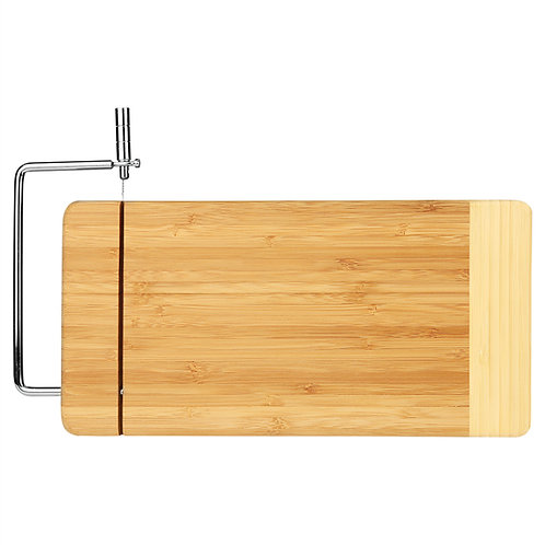 "Bamboo Rectangle Cutting Board with Stainless Steel Cheese Cutter - 6"" x 12"""