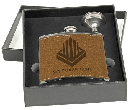 6 oz. Leatherette Wrapped Stainless Steel Flask Set with Funnel