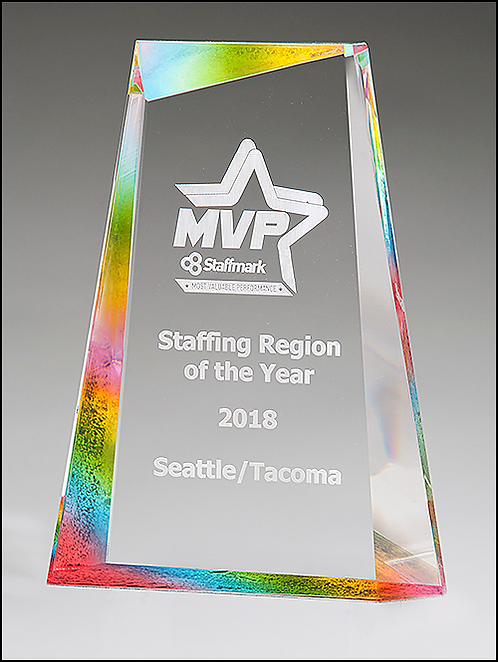 Freestanding Recognition Award - Iceberg Acrylic - Prism Effect Finish - Rainbow