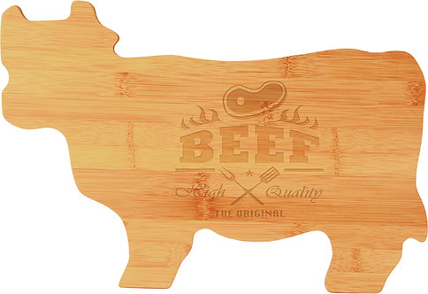 Bamboo Cow / Beef Shaped Cutting Board - Laser Engraved