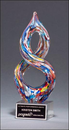 Helix-Shaped Multi-Color Art Glass Award - Laser engraved base or plate
