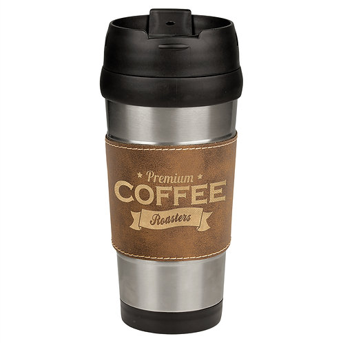 16 oz. Leatherette Stainless Steel Travel Mug - Faux leather band / grip