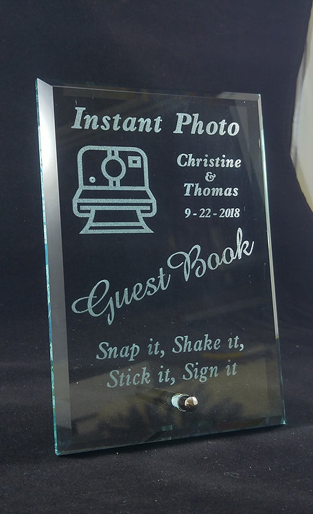 Instant Photo Guestbook Sign - Glass with silver plated easel