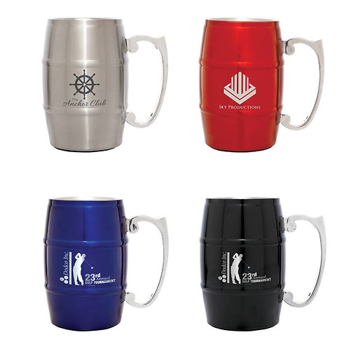 17 oz. Stainless Steel Barrel Mug with Handle - Laser engraved - Personalized