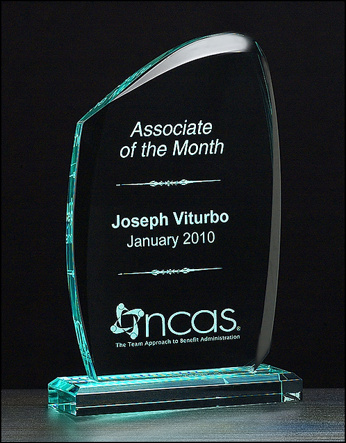 """Tidal Series Acrylic Recognition Award - 3/4"""" thick - Jade Tint Laser Engraved"""