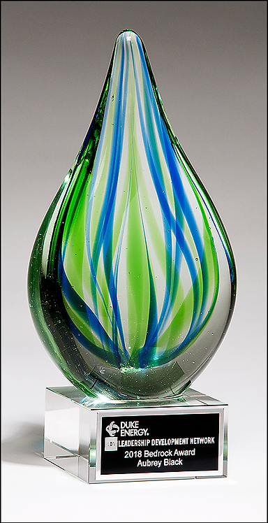 Droplet-Shaped Blue and Green Art Glass Award - Blown Glass - Clear base