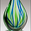 Thumbnail: Droplet-Shaped Blue and Green Art Glass Award - Blown Glass - Clear base