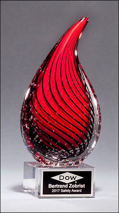 Flame-Shaped Red and Black Art Glass Award with Clear Glass Base