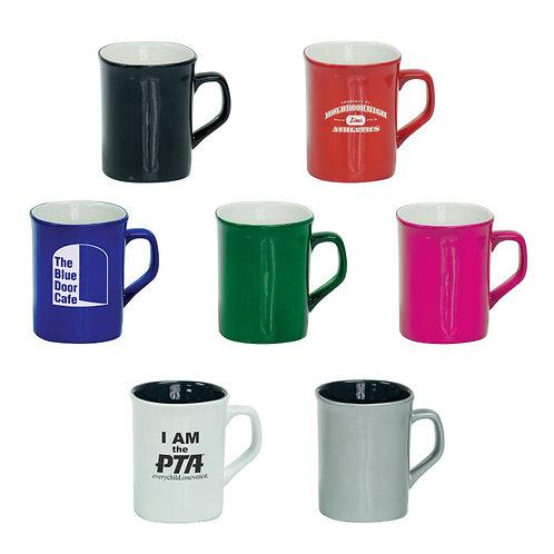 10 oz. Ceramic Coffee Mug - Flat Sided w/ rounded corners -Personalized