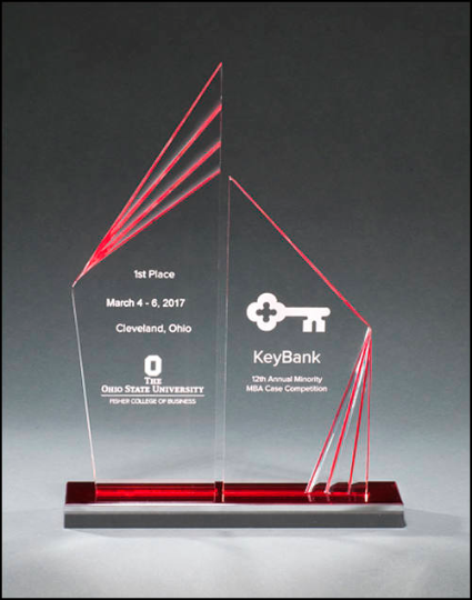 Double Zenith Acrylic Award with Red Mirror Base