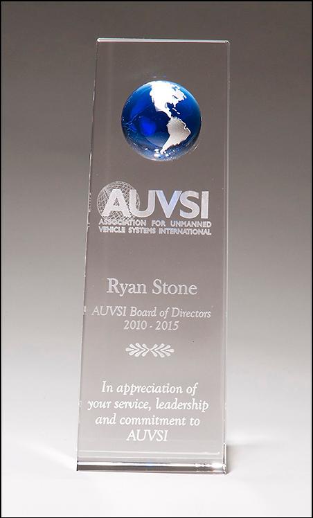 Crystal trophy with blue globe - Laser Engraved