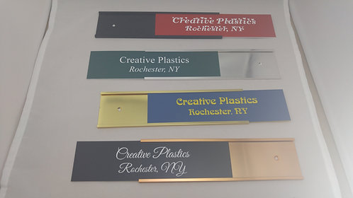 "2"" x 8"" laser engraved name plate with wall holder - 58 color options"
