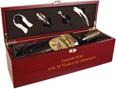 Rosewood Finish Single Wine Box with Tools - Red or Black Satin Lining - Engrave