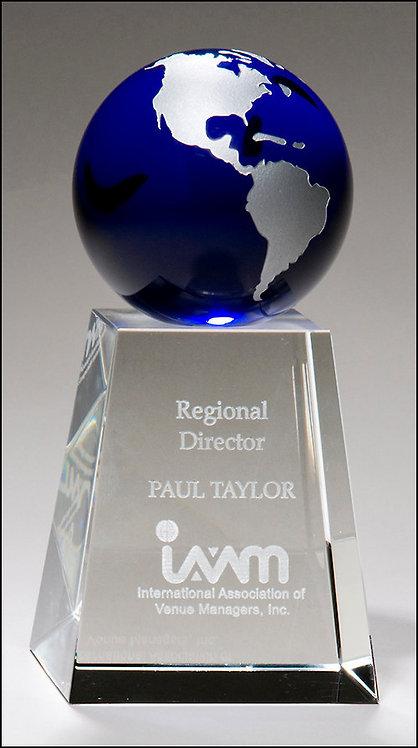 Crystal trophy with blue globe w/ free sandblast engraving