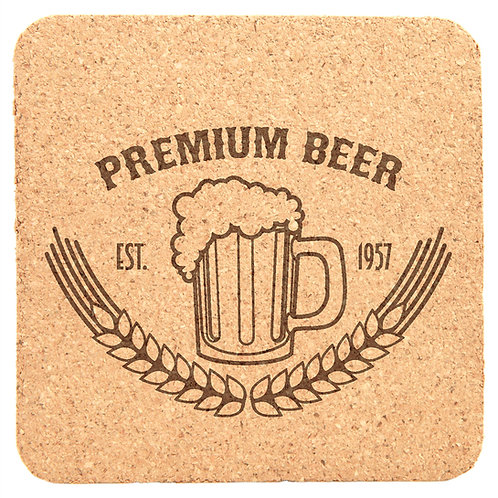 "100 Laser engraved square cork coasters - 4"" x 4"" - Personalized - Pr"