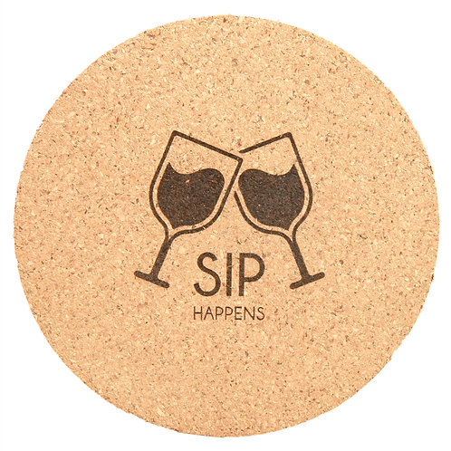 """100 Laser engraved round cork coasters - 4"""" diameter - Personalized - Promotion"""