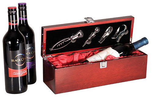 Rosewood Piano Finish Single Wine Box with Tools - Laser Engraved - Color Fill