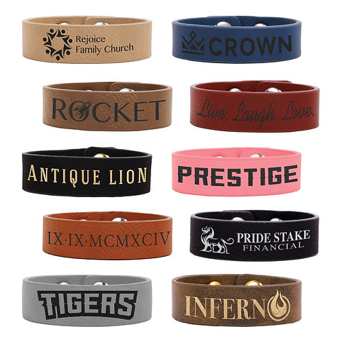 Qty 5 Leatherette Cuff Bracelets - Youth / Adult - Snaps - Personalized