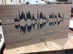 Soundwave laser engraved into walnut