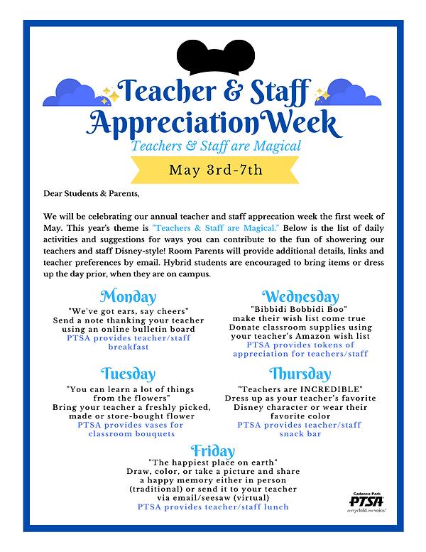 Cadence Park Teacher Staff Appreciation_
