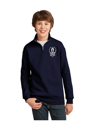 1/4 ZIP CADET COLLAR  SWEATSHIRT-NAVY