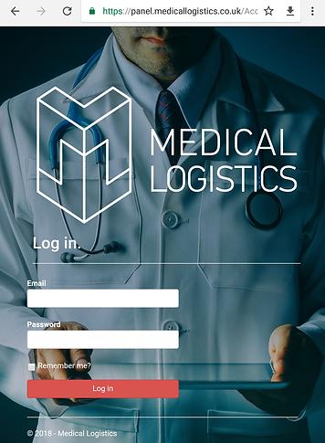 Medical Logistics custmer login panel