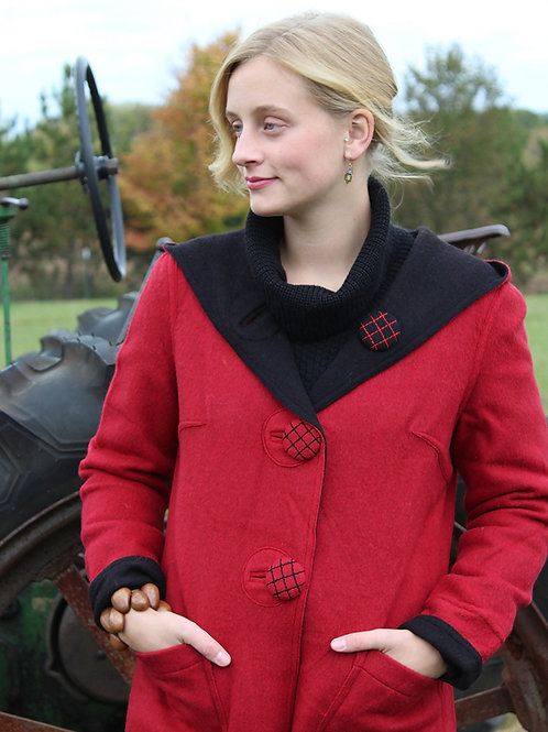 Hooded Alpaca Reversible Overcoat