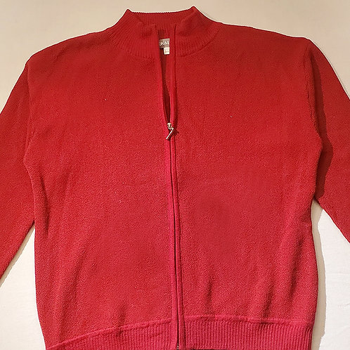 Red Alpaca Zippered Sweater