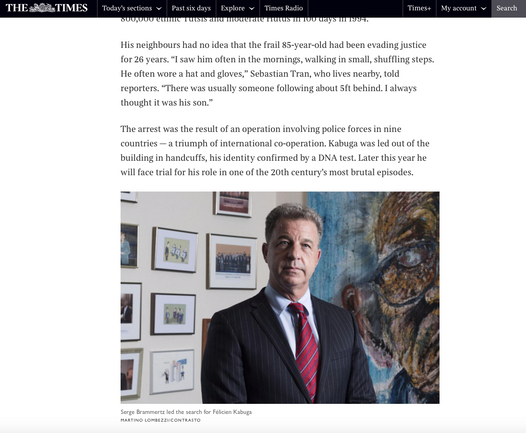THE T I M E S  (United Kingdom)mr Serge Brammertz  Chief Prosecutor of the International Residual Mechanism for Criminal Tribunals