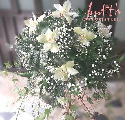 F20- Orquídeas blancas redondo
