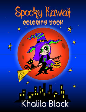 Book cover for a spooky and cute kawaii coloring book for halloween by Khalila Black