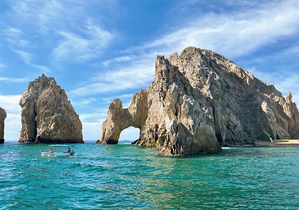 """The arch of Cabo San Lucas, is a distinctive rock formation at the southern tip of Cabo San Lucas, which is itself the extreme southern end of Mexico's Baja California Peninsula. The arch is locally known as """"El Arco,"""" which means """"the arch"""" in Spanish, or """"Land's End."""""""