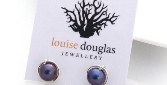 Silver Lulu Studs - Peacock Pearl