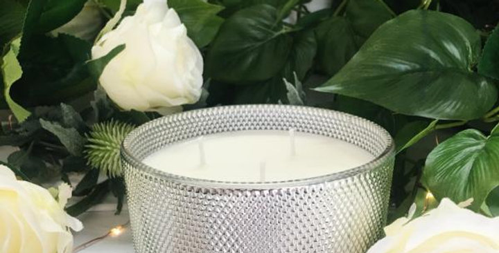 Kasbah Silver 3 Wick Candle -Lotus Blossom