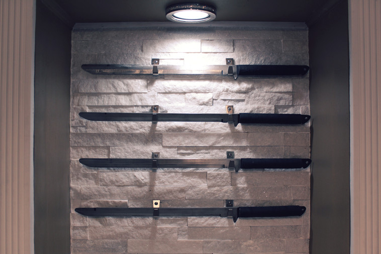 Swords hanging on wall