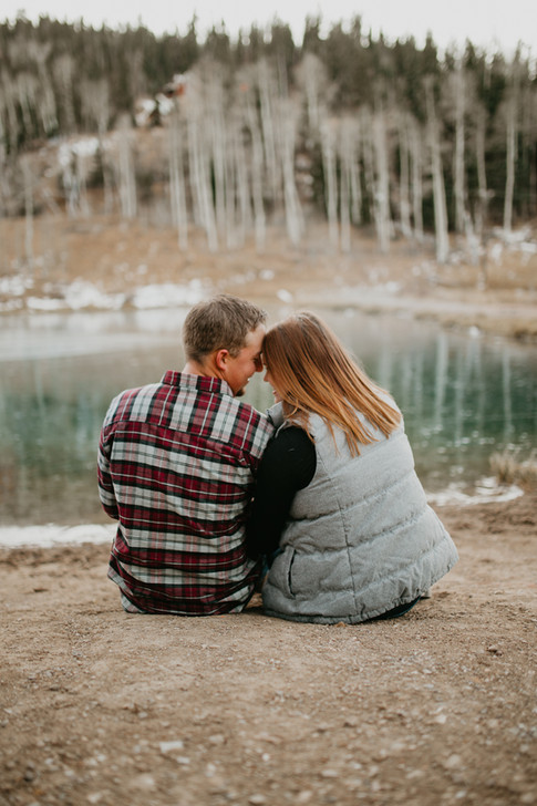Gorgeous Winter Engagement shoot by blue lake.   Kenzie Mae Photography   Southern Utah Wedding Photographer