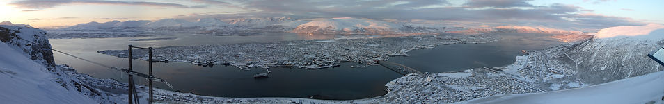 tromso norway arctic town snow ice frost winter