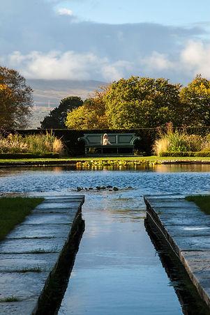 Bodnant Garden North Wales dog friendly garden walks pool bench spaniel mountains