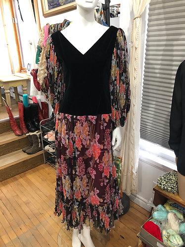Robe velours et voilage vintage S