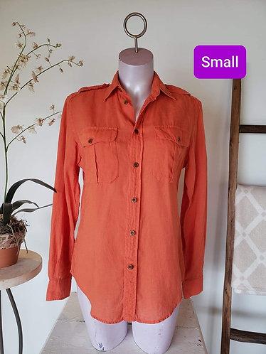 Chemise orange lin Ralph Lauren (6) S